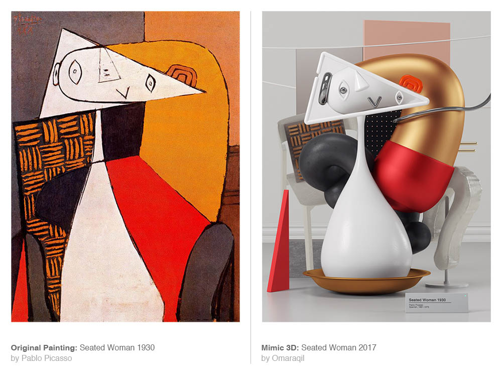 picasso painting 3d model seated woman