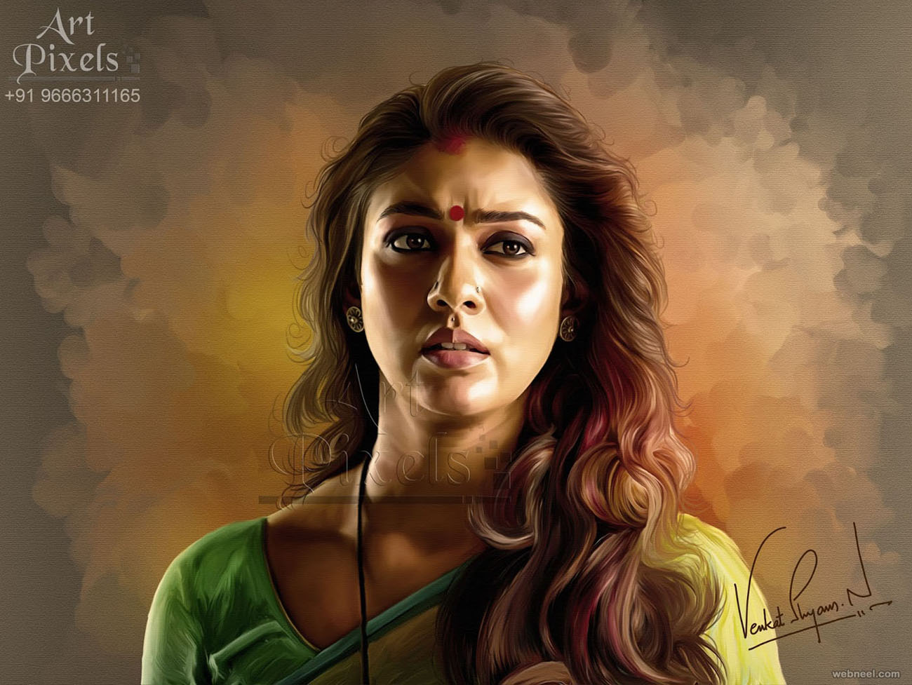 nayan tara actress digital painting