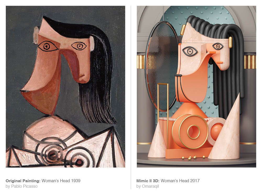picasso painting 3d model woman head