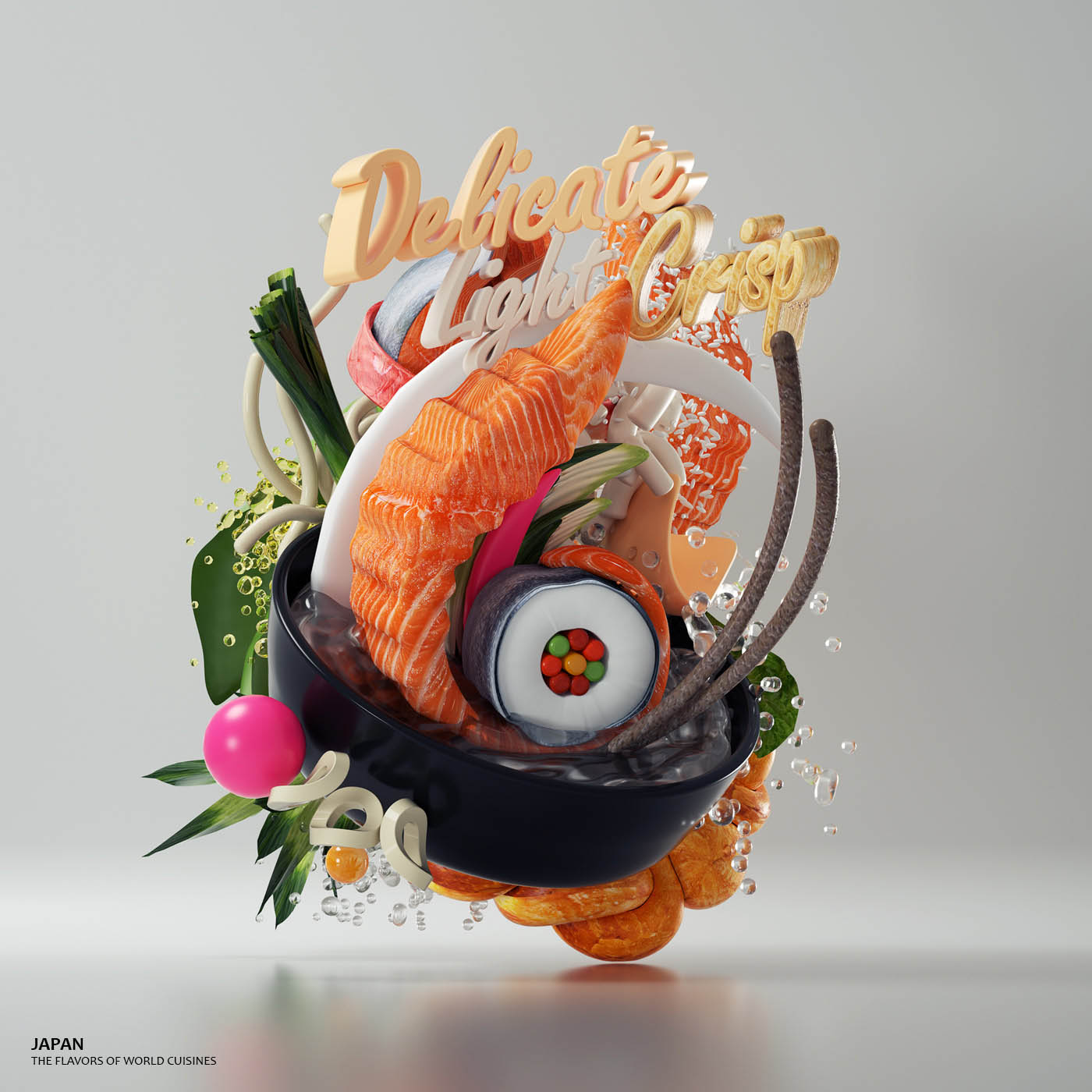 3d typography design japan