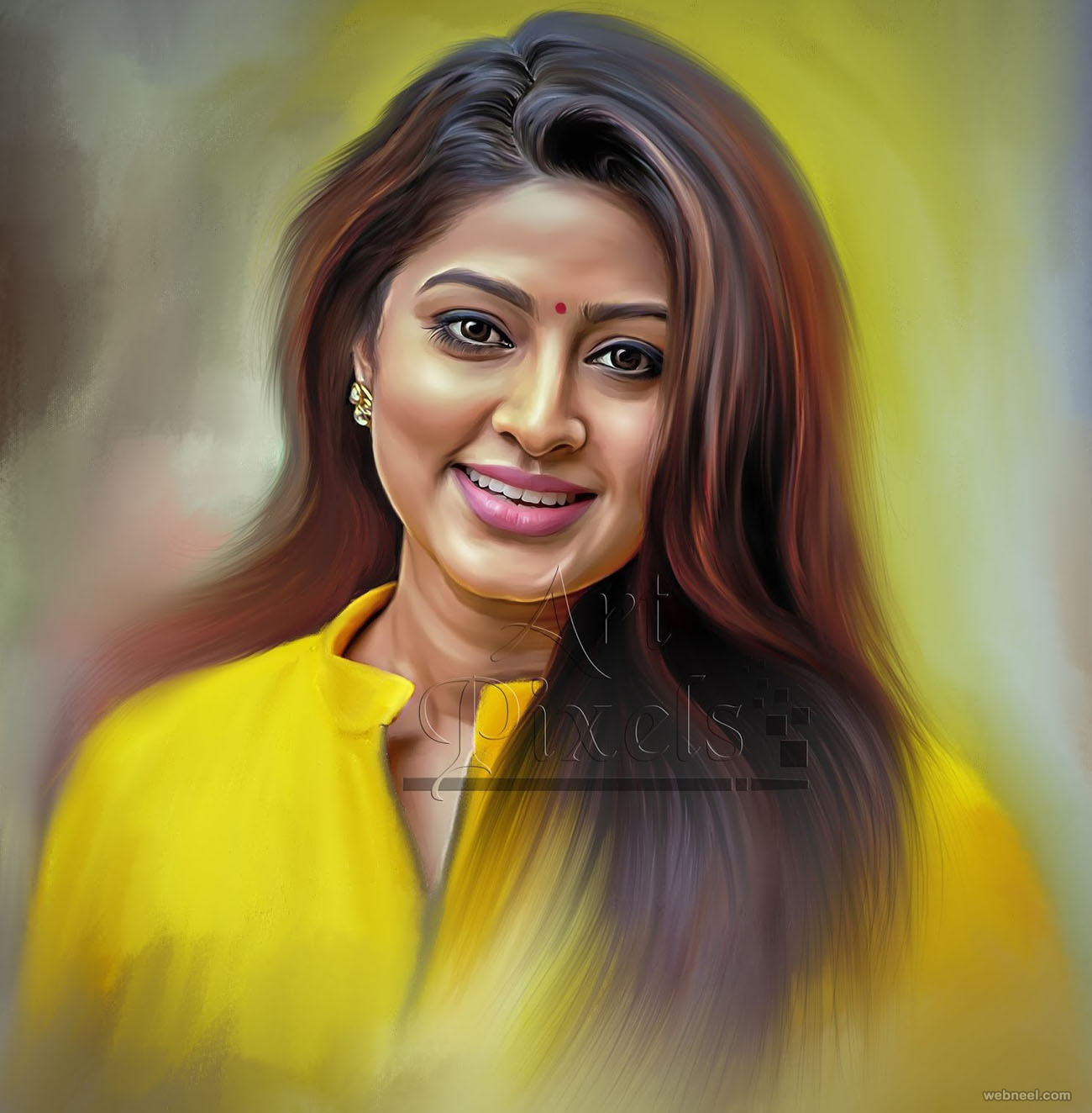 actress sneha digital painting