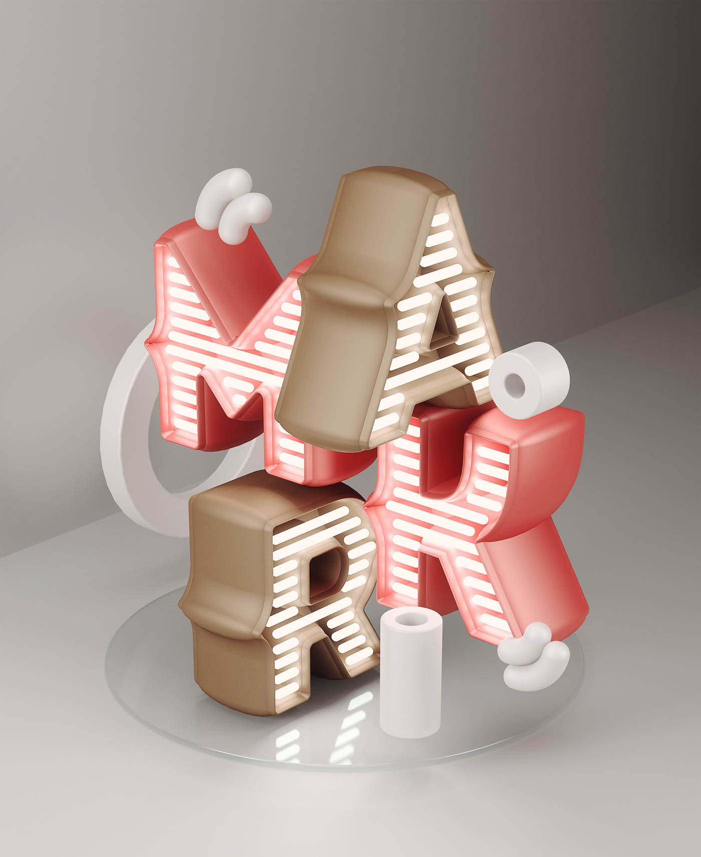 3d typography design mark