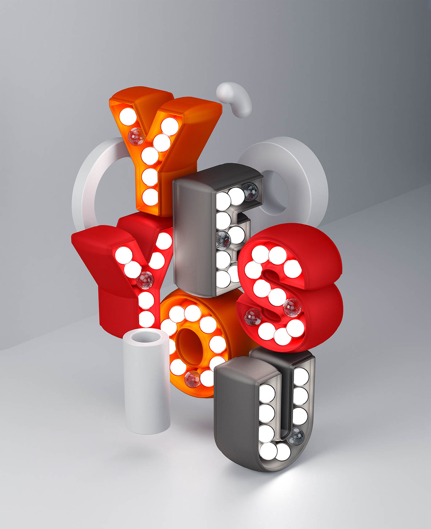 3d typography design yes