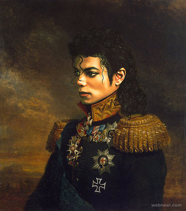 michael jackson digital painting military portraits by steve payne