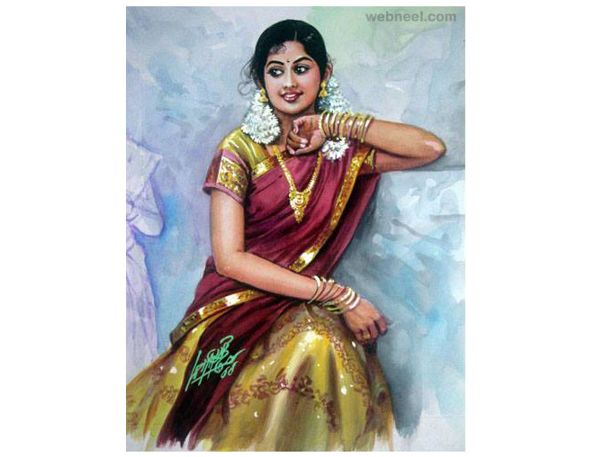painting tamil nadu woman