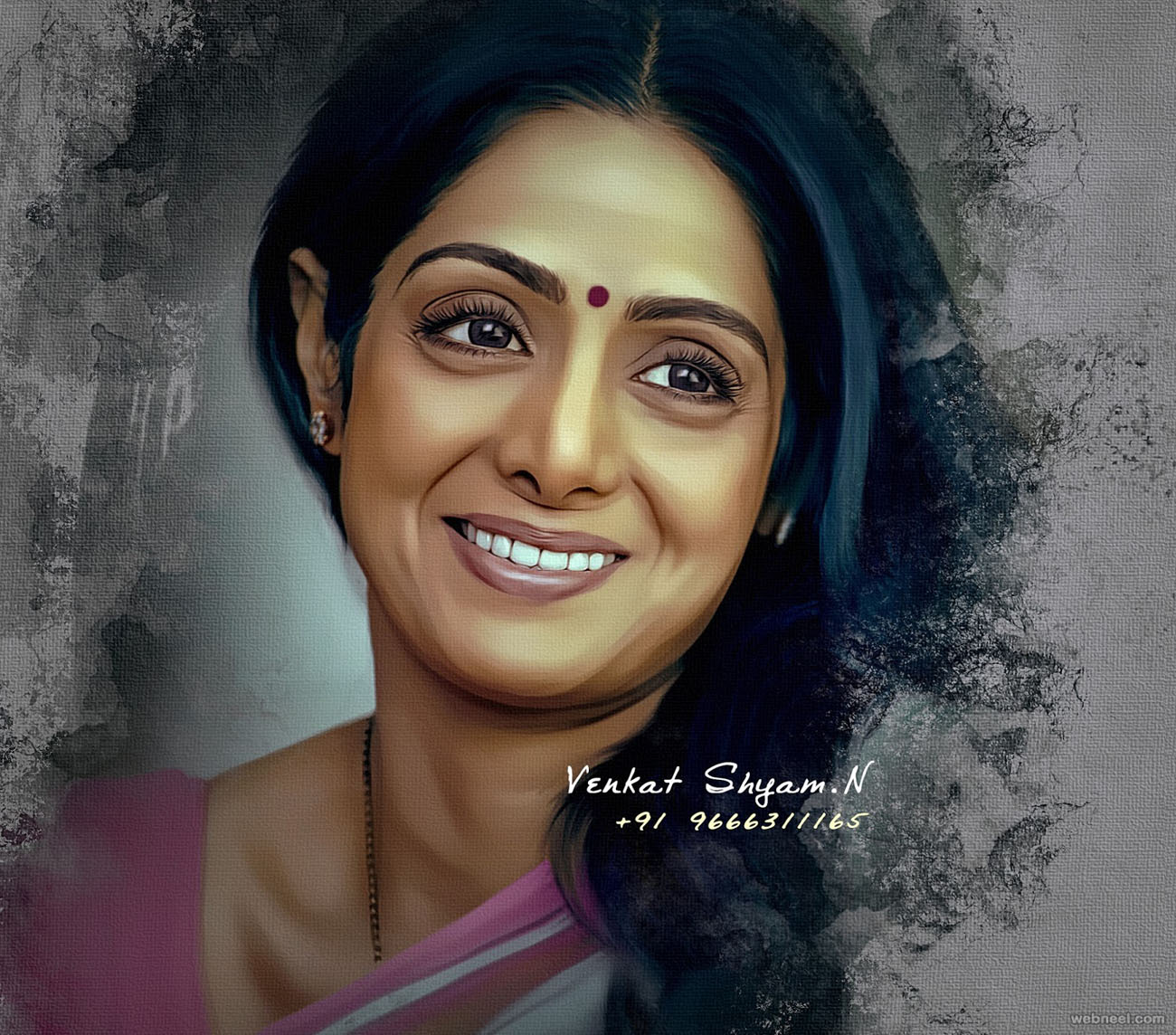 sridevi actress digital painting by venkat shyam