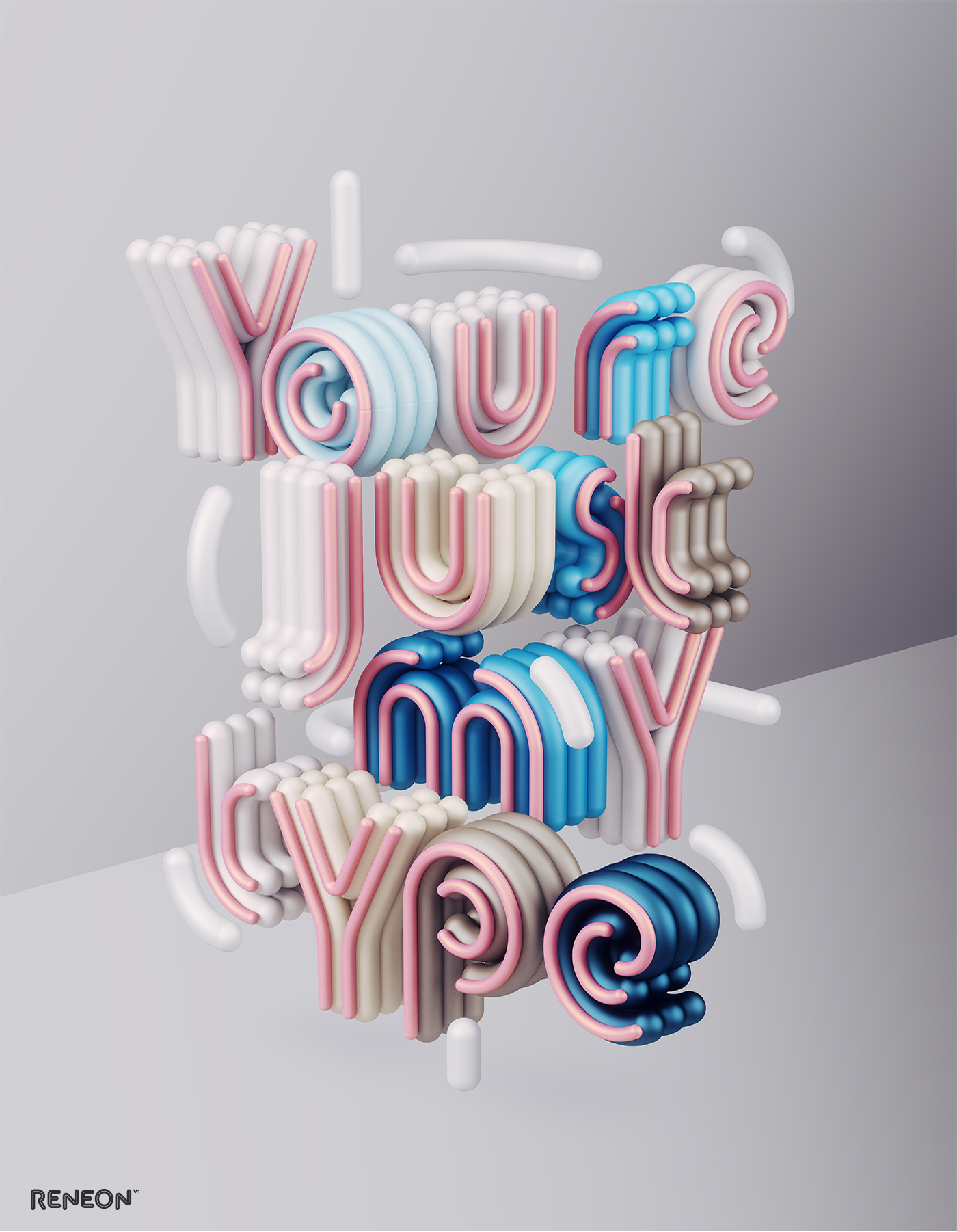 3d typography design reneon