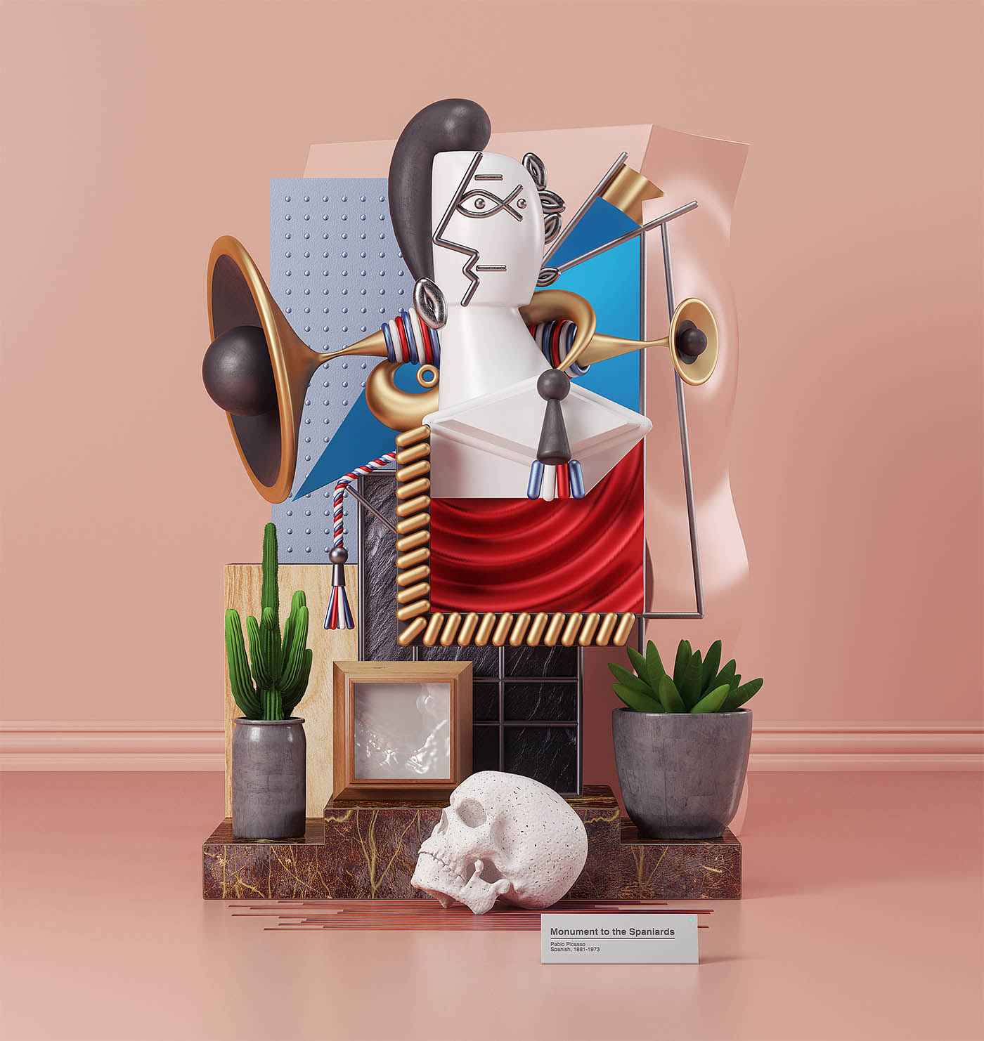 picasso painting 3d model monument spaniards