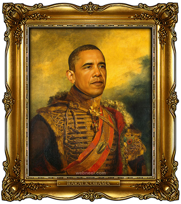 obama digital painting military portraits by steve payne
