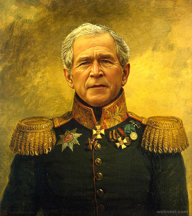george bush digital painting military portraits by steve payne