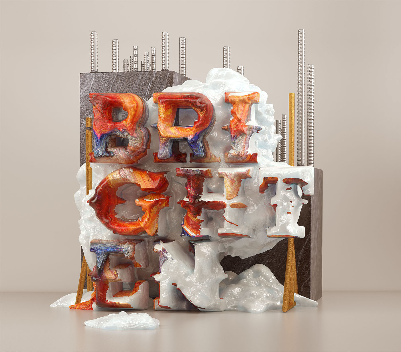 3d typography design brighten