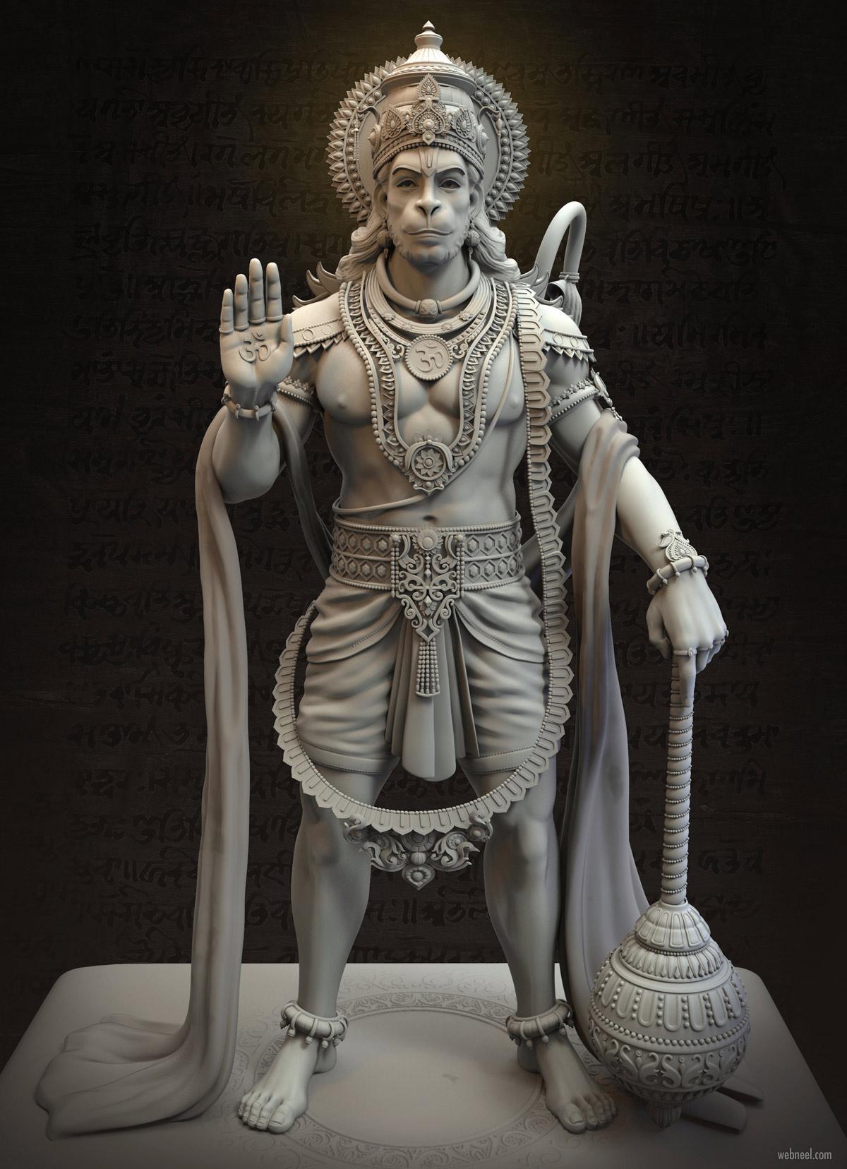 3d model anjaneya hanuman by harshal battin
