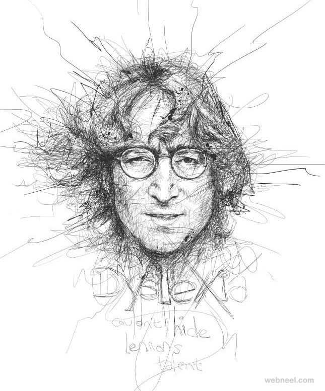 Drawing Of Scribbles : Awesome celebrity portraits made of scribbles by vince low