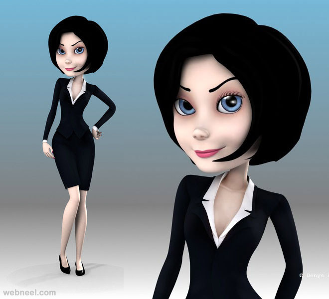 3d cartoon lady
