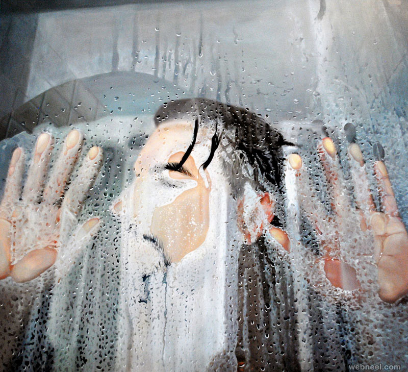 glass water realistic painting by linnea strid