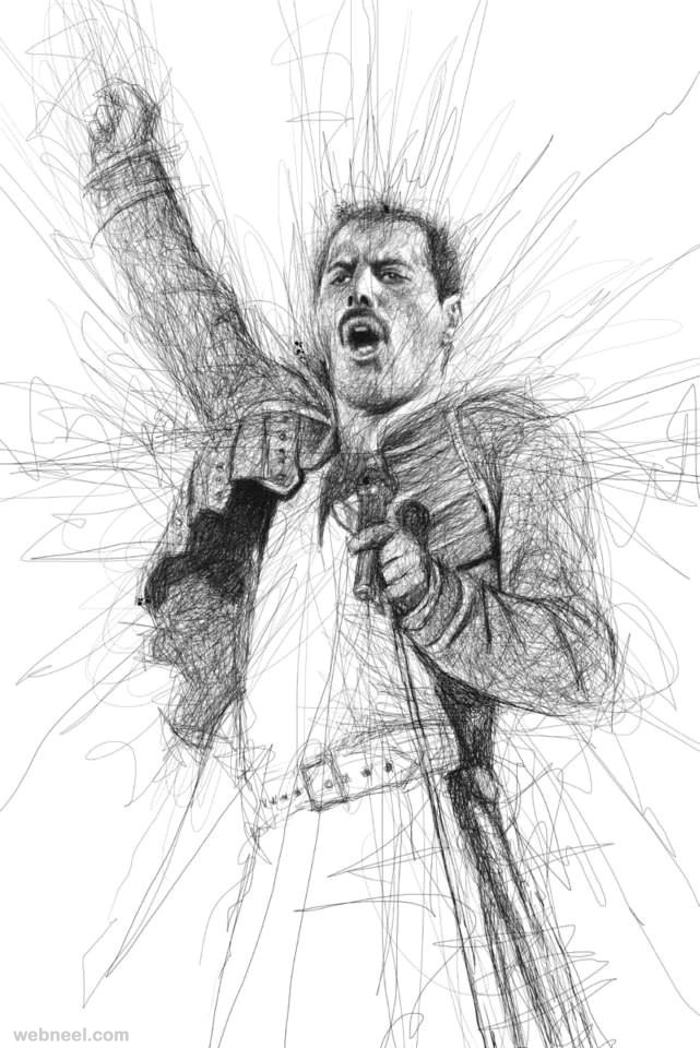 Drawing Of Scribble : Awesome celebrity portraits made of scribbles by vince low