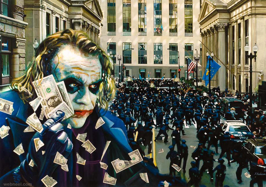 chaos wallstreet financial crisis painting by tos kostermans