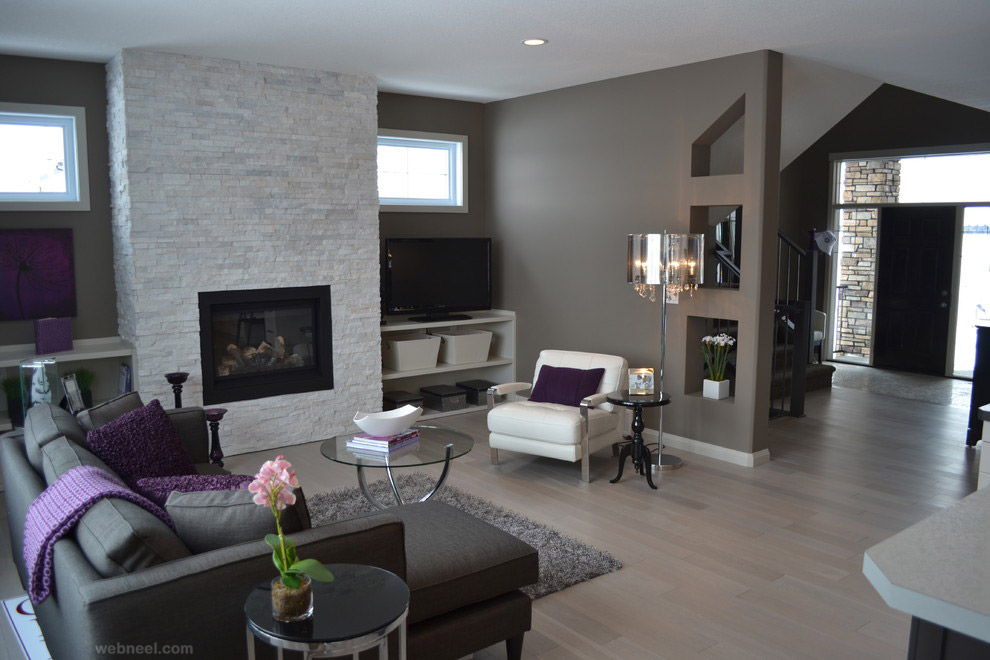 Modern Living Room With Grey Color Gray Purple Modern Gray Living