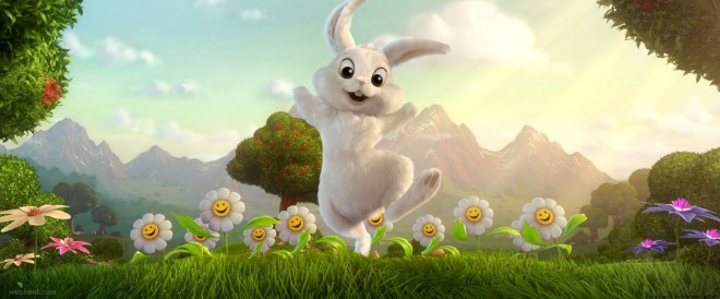 Awesome 3d Rabbit Garden Background Flowers By Sze Jones 4