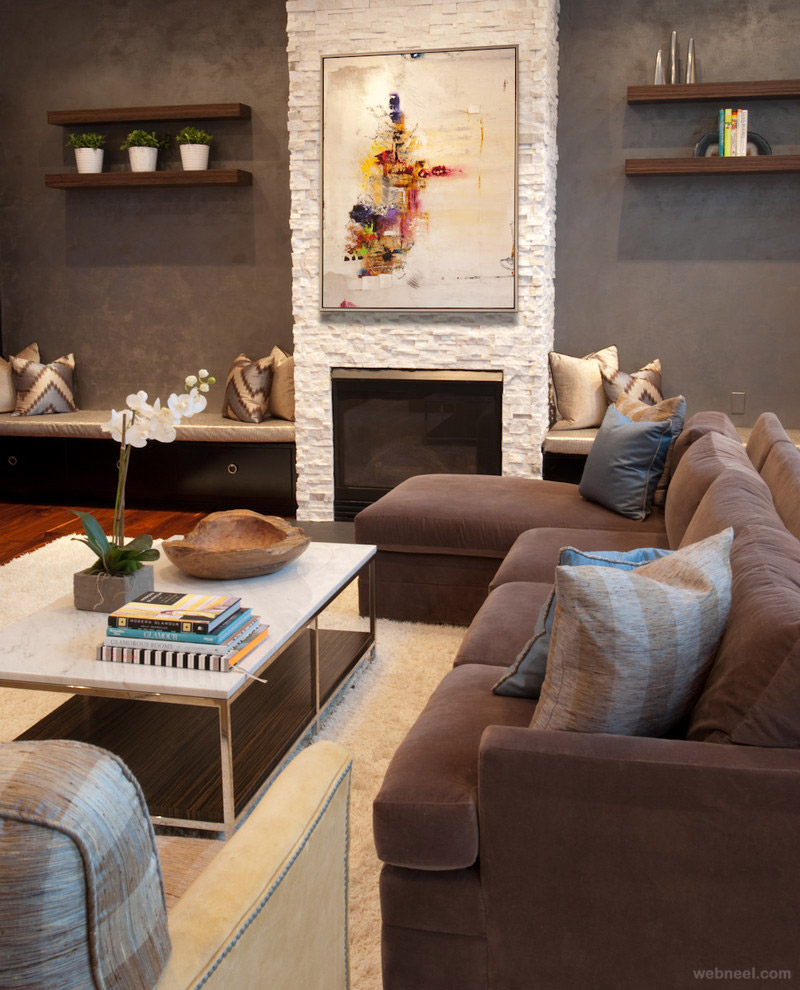 Modern Family Room Alluring Of ModernFamilyRoomFireplace Image