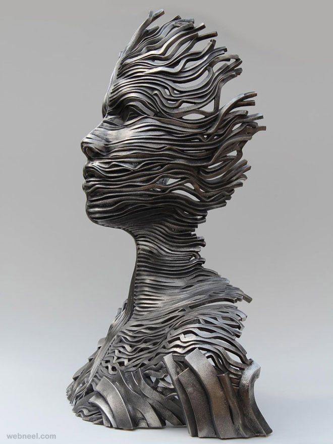 Creative human figure metal sculptures composed of