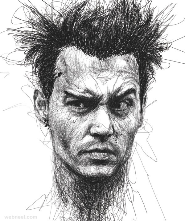 20 Awesome Celebrity Portraits Made Of Scribbles By Vince Low
