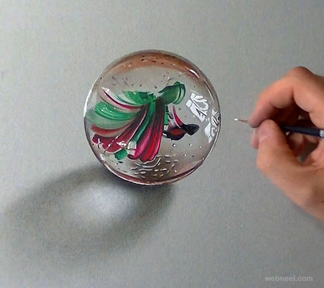 Marble Colored Pencil Drawings Of Clusters : Marble glass ball realistic drawing by marcello barenghi