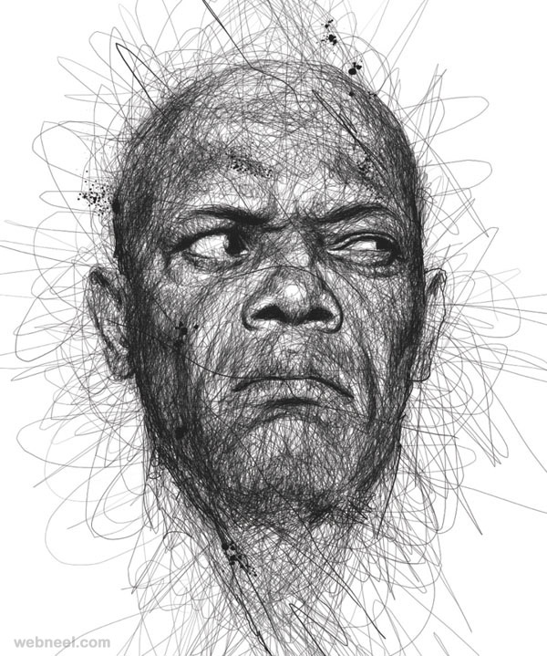 Celebrity portraits made from pen scribbles [12 pictures ...