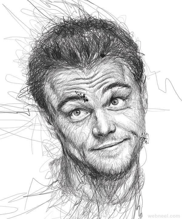 Mind-blowing Celebrity Portraits Made from Scribbles ...