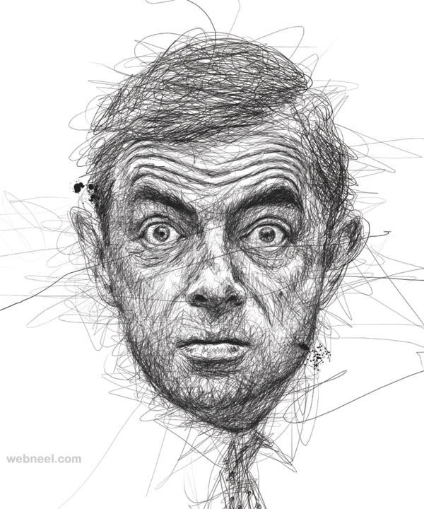 Scribble Drawing Art : Awesome celebrity portraits made of scribbles by vince low