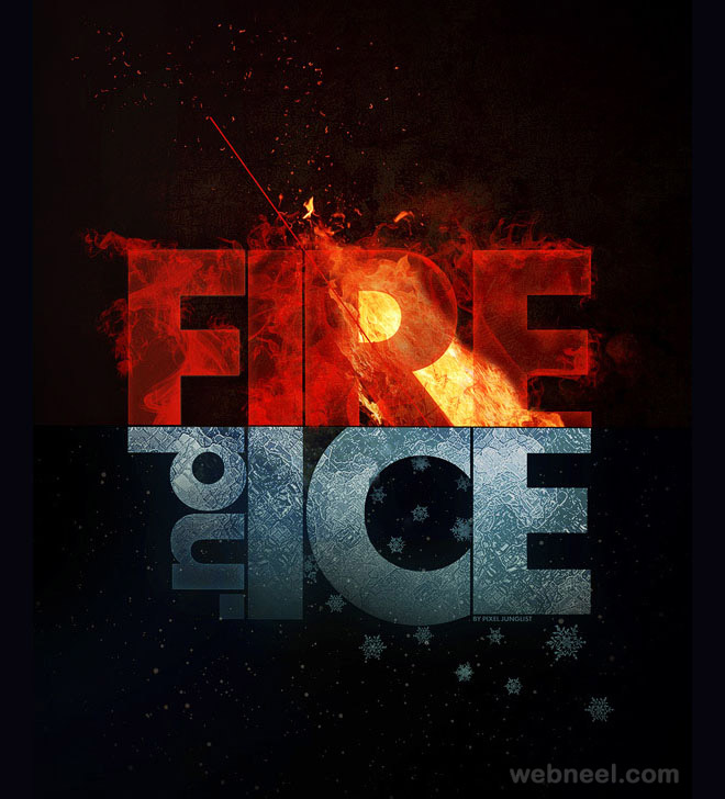 typography art fire ice junglist
