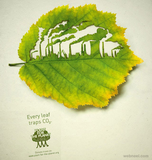best print ads global warming trees leaf