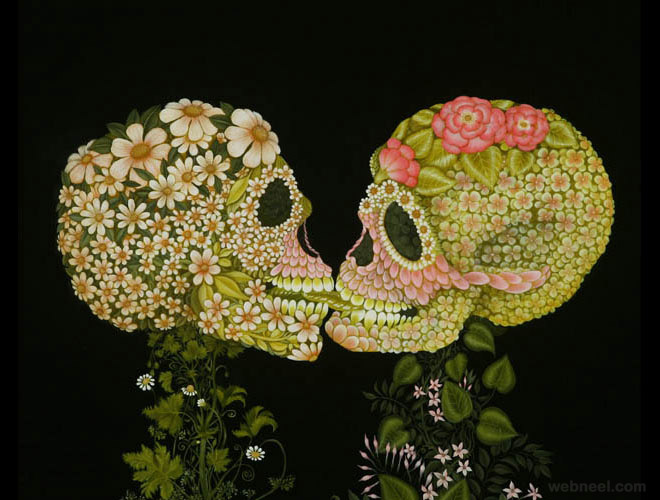 flower skull surreal oil painting colette