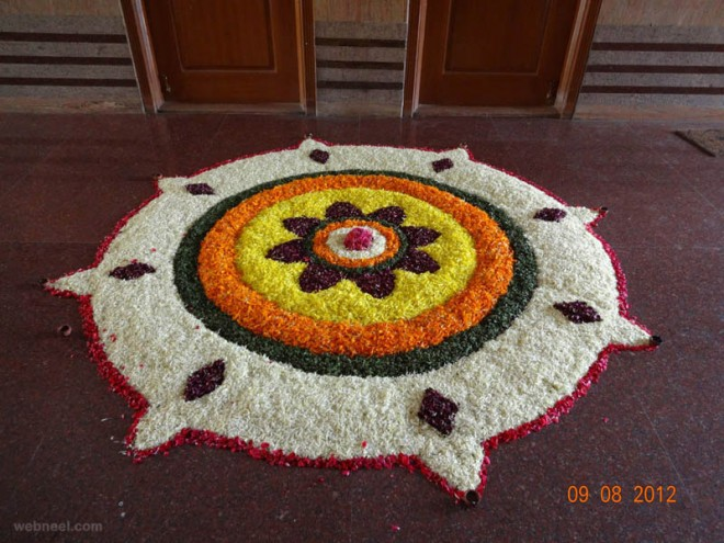 Unique Designs Outline Onam Kalam Images for Free Download