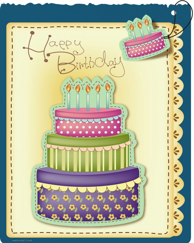 birthday greeting card design vector
