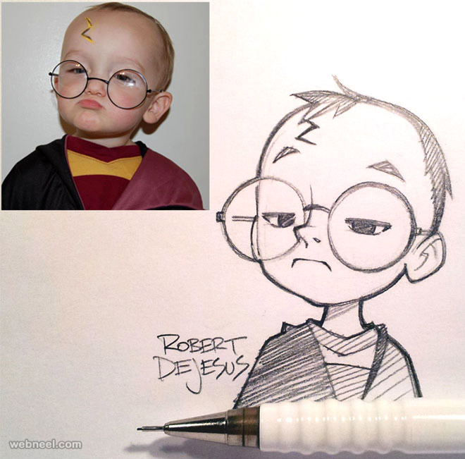 50 Beautiful Photo to Cartoon Drawings by Robert Dejesus