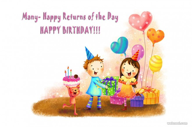 kids birthday greetings card design