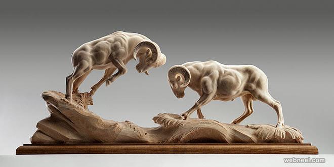 animal wood sculpture by giuseppe rumerio