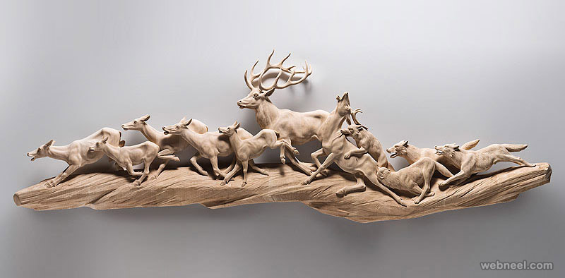 deer animal wood sculpture by giuseppe rumerio