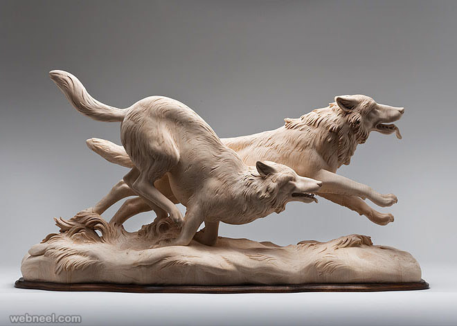 Realistic wood sculpture art works by giuseppe rumerio