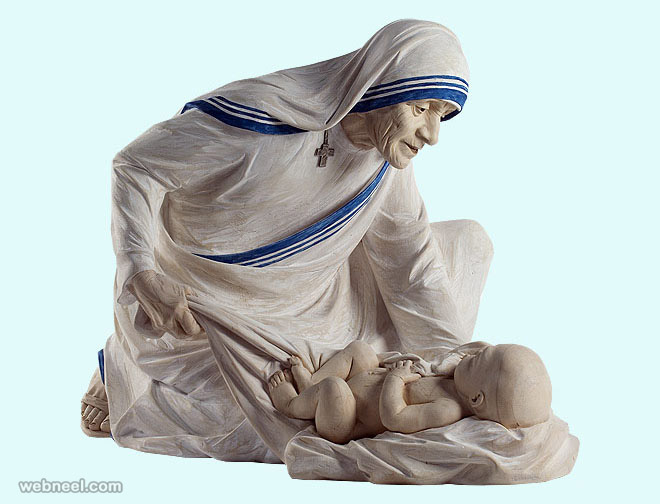 mother theresa wood sculpture