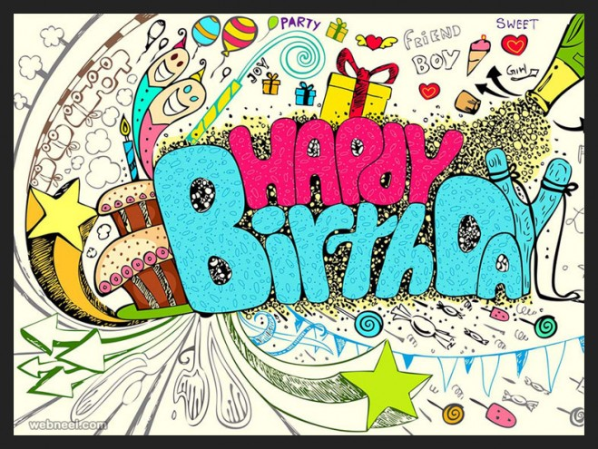 50 Beautiful Happy Birthday Greetings card design examples Part 2 – Doodle Birthday Card