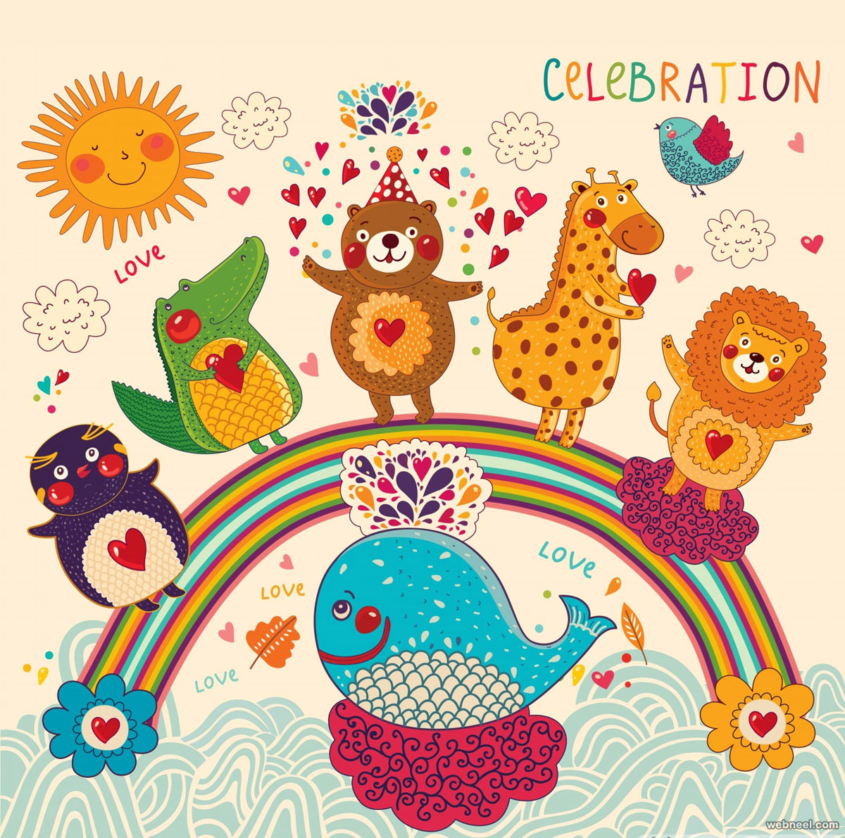 Kids Animals Birthday Greetings Card Design