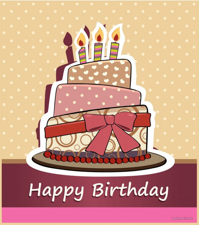 birthday greetings card design cake vector