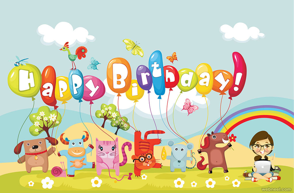 Birthday Greetings Card Design Kids Animals