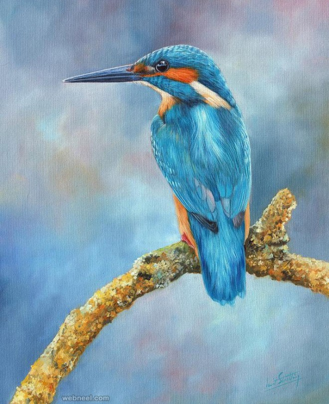 bird painting bykingfisher david stribbling