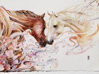 horse watercolor painting by Luqman Reza Mulyono-Jongkie
