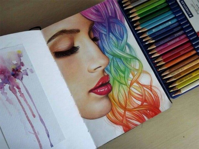 woman color pencil drawing