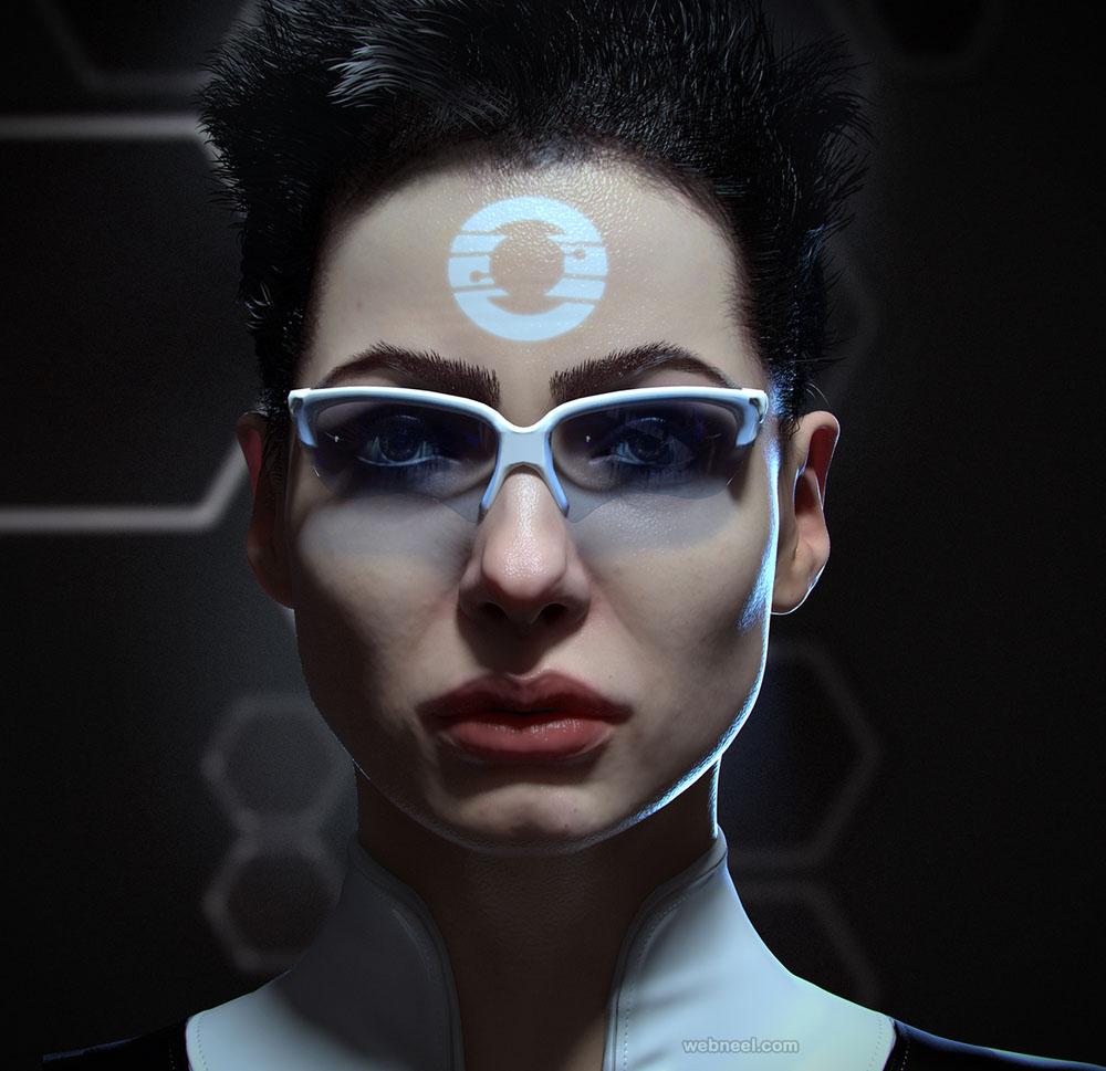 futuristic 3d model design