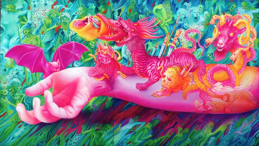 tattoo swirl oil painting